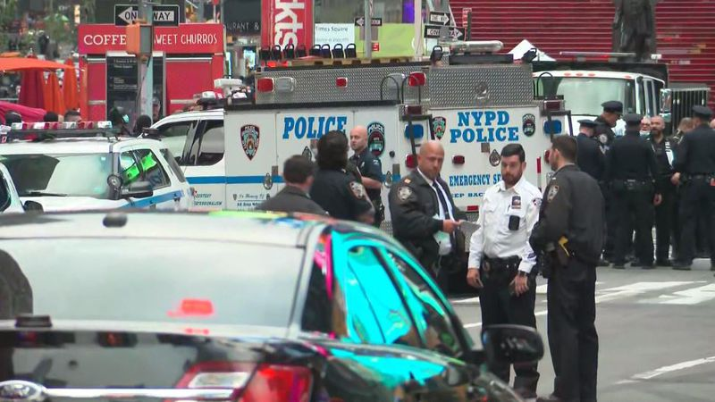 Police believe two to four men got into an argument in a busy area of Times Square, and during...