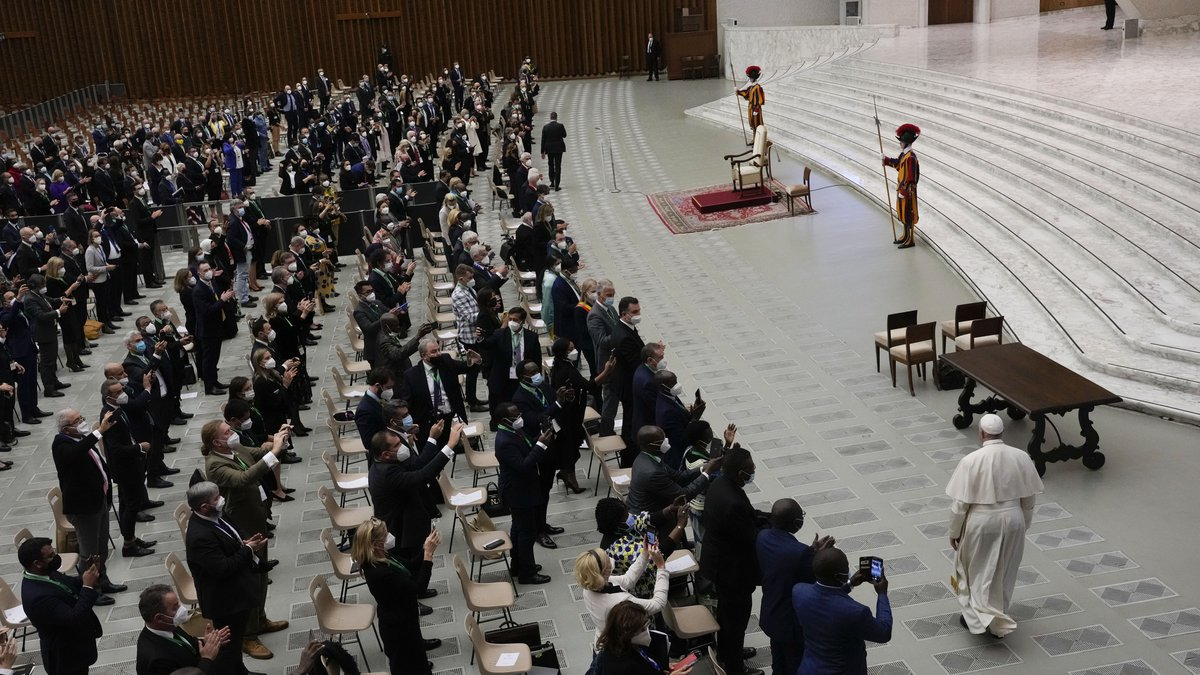 Pope Francis arrives to meet with the participants to the inter-parliamentary meeting on the...