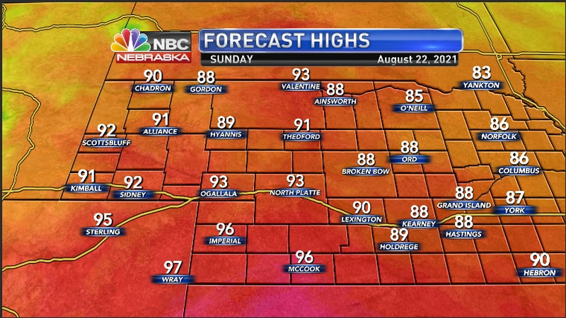High temperatures across the region for Sunday