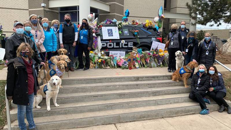 The LCC K-9 Comfort Dogs at the Boulder Police Station Memorial for Officer Eric Talley, who...