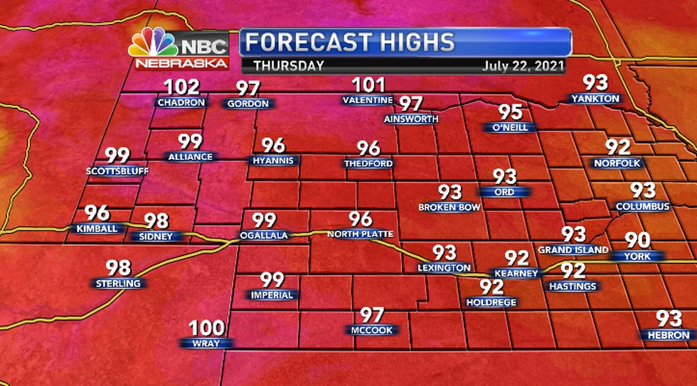 Could see some 100s Panhandle and Northern areas with mid to upper 90s pushing farther east.