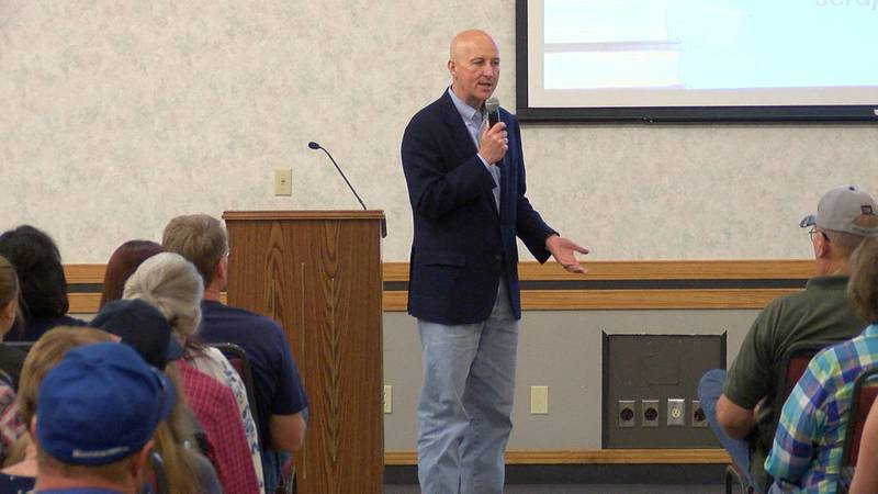Governor Pete Ricketts holds a townhall in Gering to oppose considered proposals of...