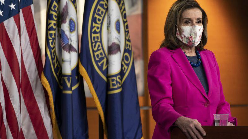 House Speaker Nancy Pelosi of Calif. speaks during her weekly briefing, Thursday, Feb. 25,...