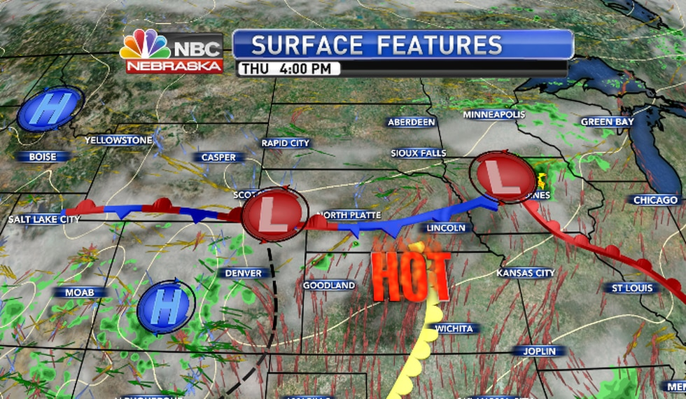Low to mid 100s expected south of the front.