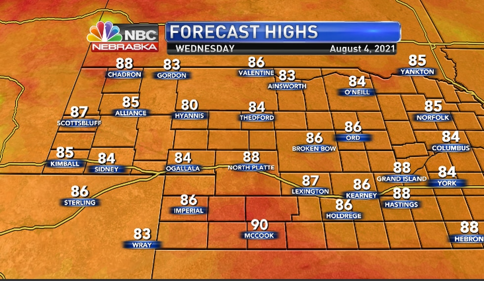 Seasonably mild with highs mainly in the 80s.
