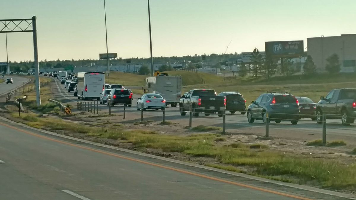 The Wyoming Highway Patrol saw an increase in traffic along the I-25 corridor in Cheyenne, on Monday for the Solar Eclipse event. Traffic picked up around 3 a.m. and has been steady since. Traffic is coming to a near stop in the Cheyenne area. US 85 north of Cheyenne is also seeing heavy congestion. (photo courtesy Wyoming Highway Patrol)