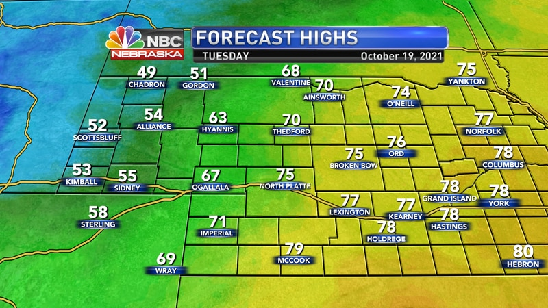 Temperatures will have a big spread on Tuesday with a cold front moving in from the west. Look...
