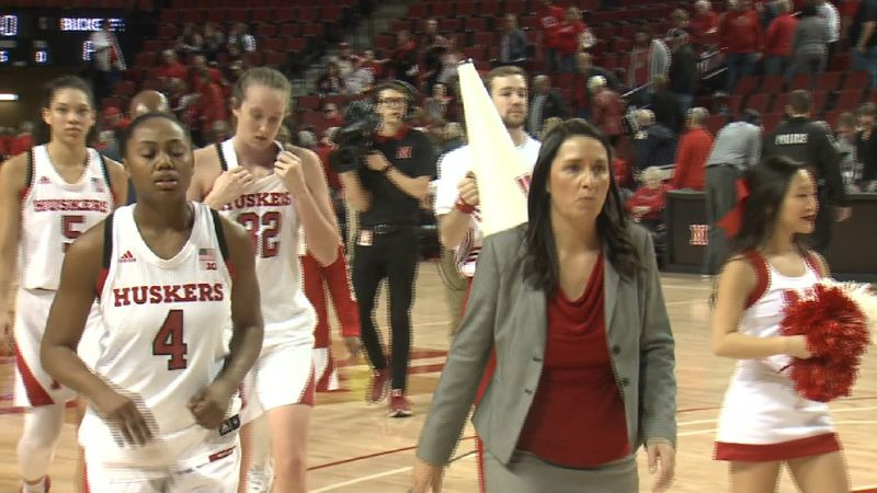 The Nebraska women's basketball team exits the court after an overtime loss against Ohio State...