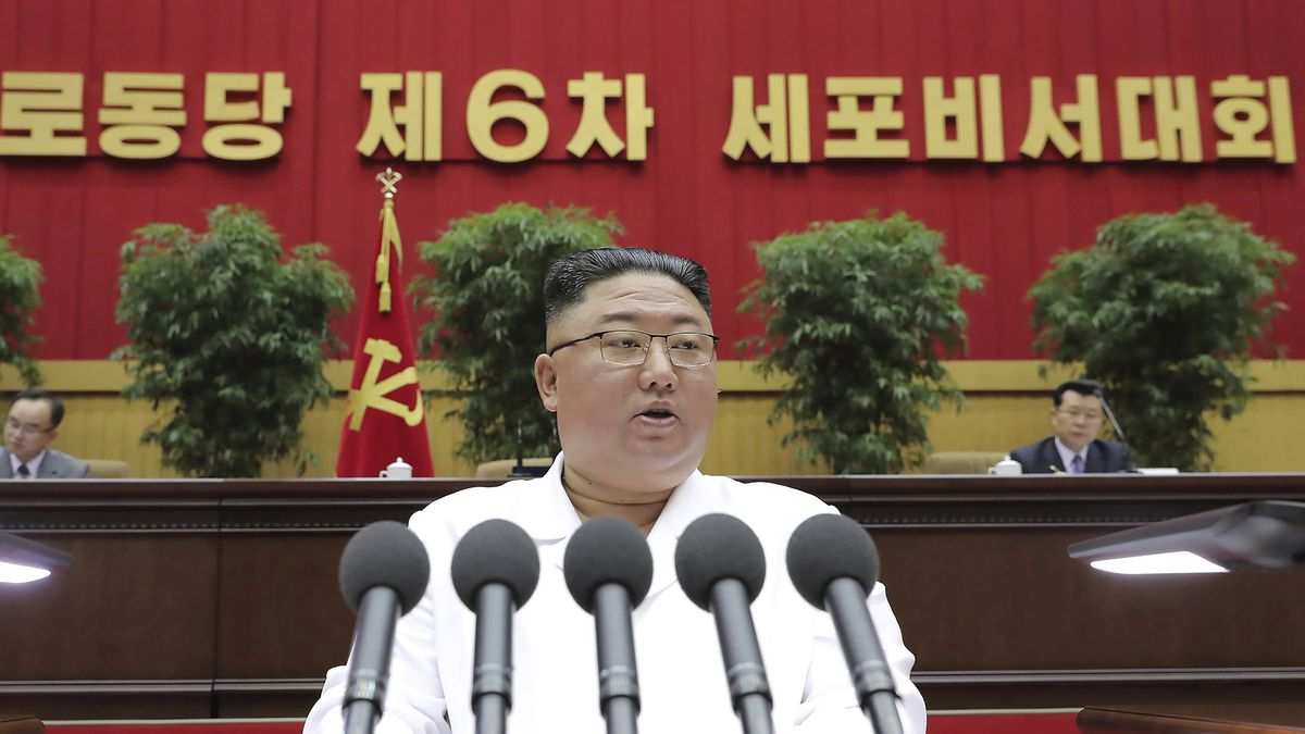 In this photo provided by the North Korean government, North Korean leader Kim Jong Un delivers...