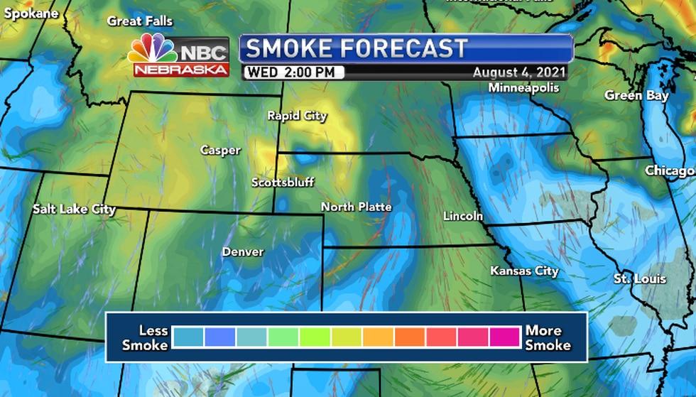 Another smoke plume descends on  Nebraska Wednesday filtering the sunshine..