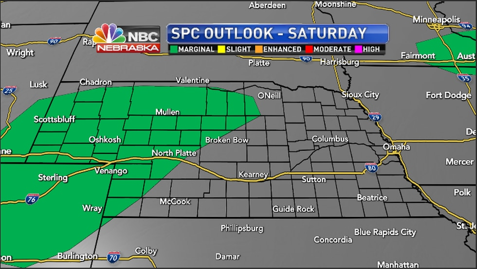 Isolated severe storms possible Saturday evening