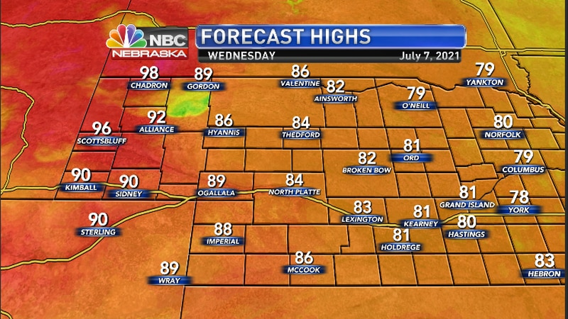 High temperatures today across the region