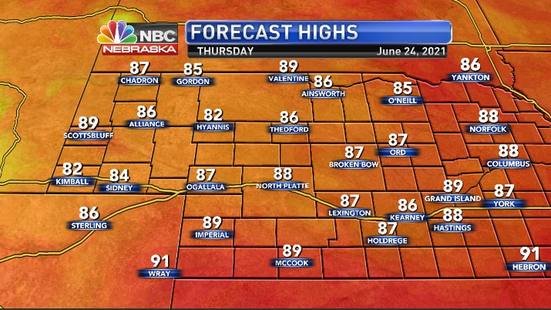 Not as hot with highs in the mid to upper 80s.