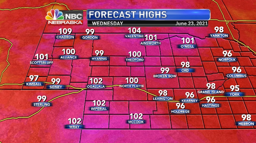 Highs expected to soar into the upper 90s to low 100s.