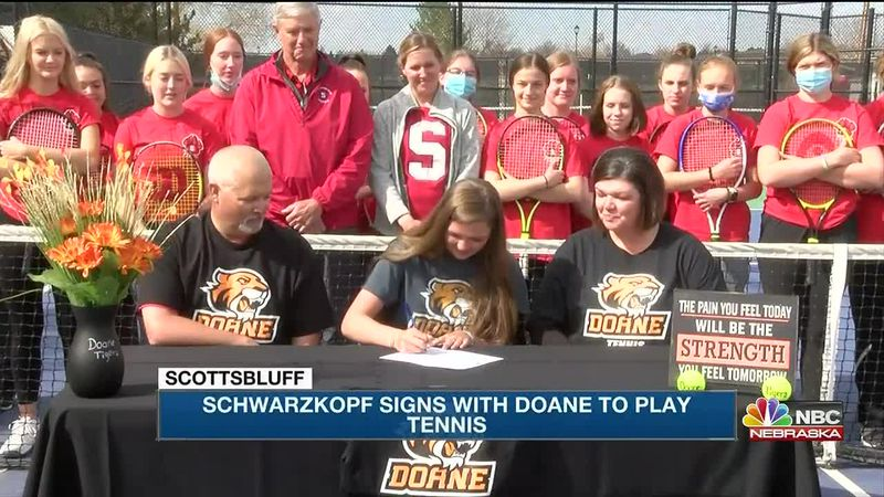 Two Scottsbluff High School students continue their athletic careers signing with Doane...