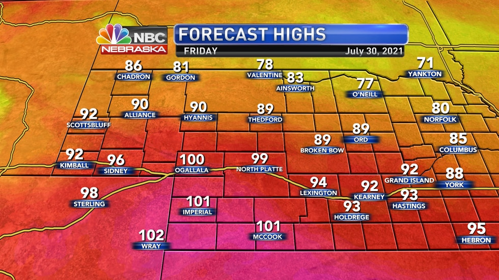 Temperatures on Friday will range from the upper 70s to the upper 90s and lower 100s.