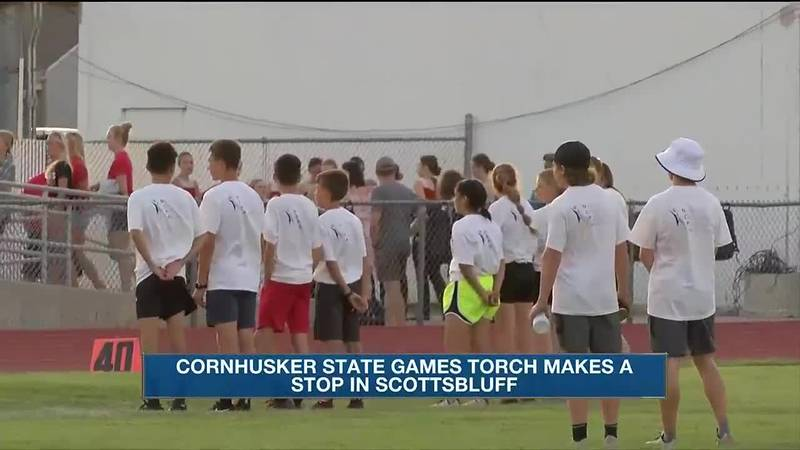 The 2021 Cornhusker State Games torch makes a stop during West Nebraska All Star Games on...