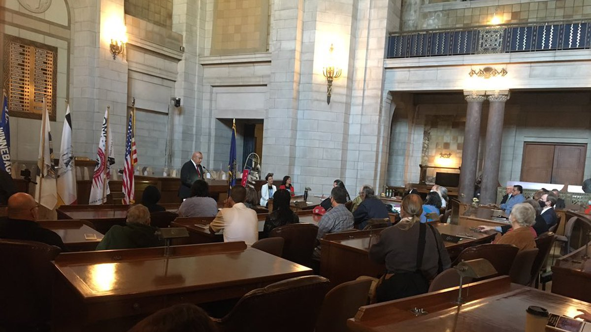 Nebraska tribes held a flag dedication ceremony at the state Capitol in Lincoln on Monday...