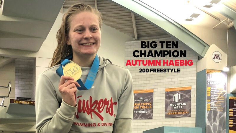 Nebraska senior Autumn Haebig captured the first Big Ten Conference swimming title in school...