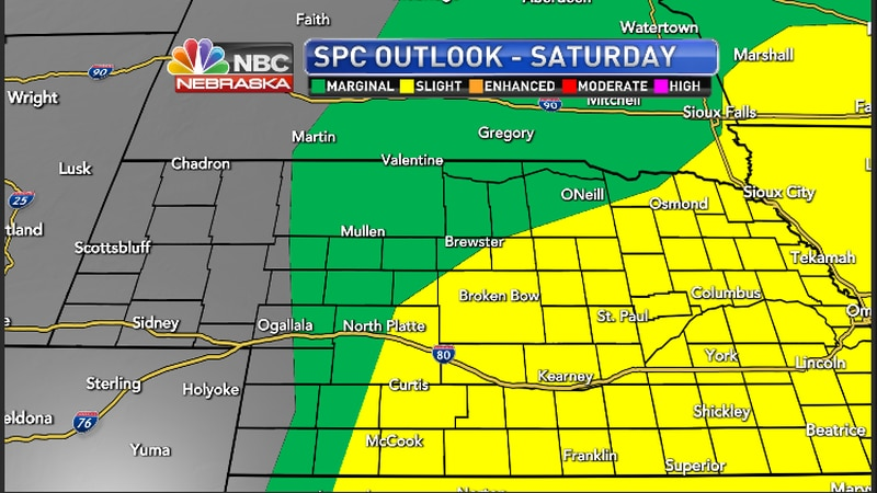 Severe Weather chances for the rest of Saturday