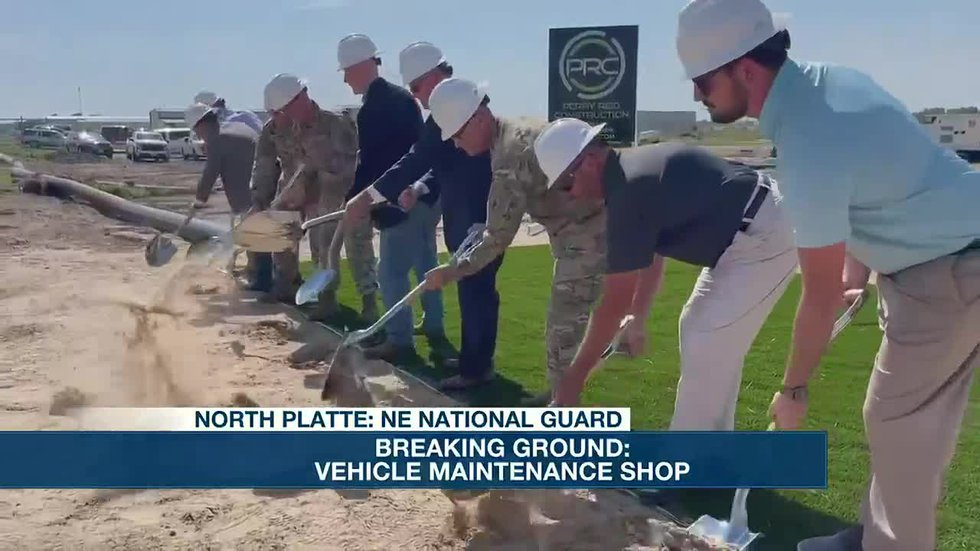 Breaking ground for new vehicle maintenance shop for NE National Guard.