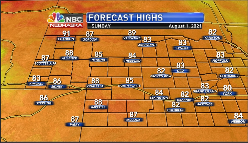 Highs for Sunday afternoon