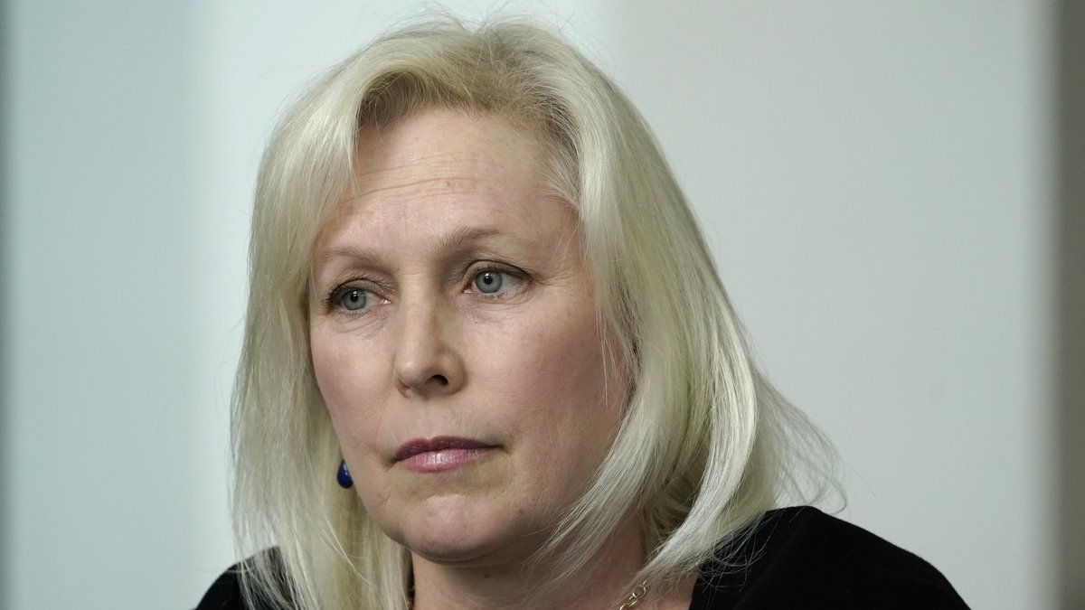 In this March 14, 2021, file photo, Sen. Kirsten Gillibrand, D-N.Y., speaks during a news...