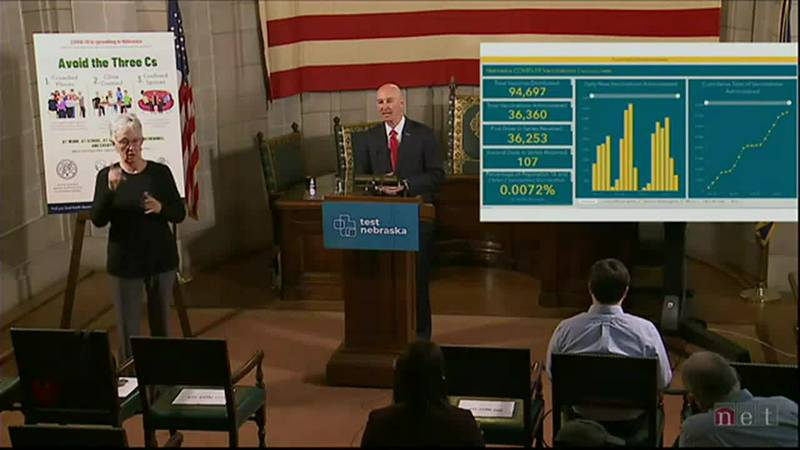 Gov. Pete Ricketts gives an update on Nebraska's COVID-19 response during a news conference...
