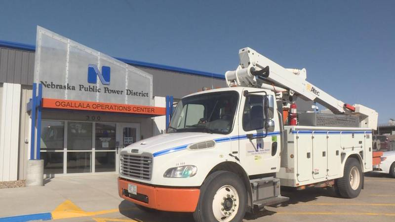 A Nebraska Public Power District truck parked in front of the Ogallala office building.