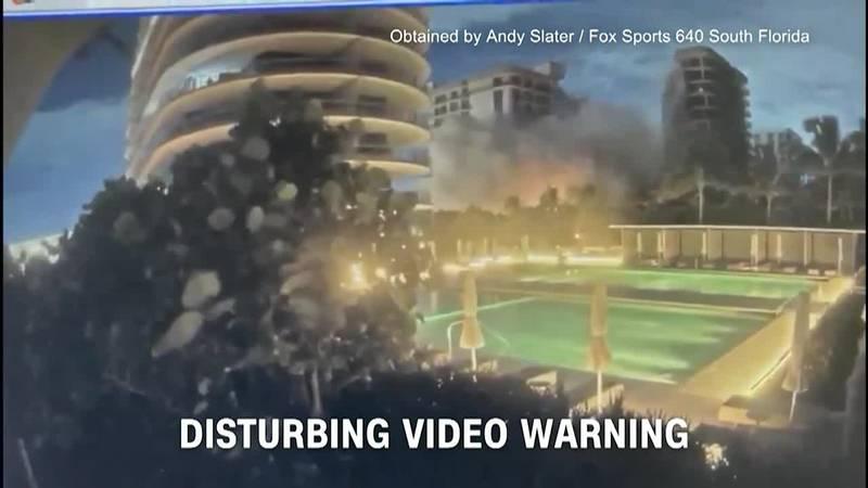 Surveillance video shows the moment a Florida condo partially collapsed.