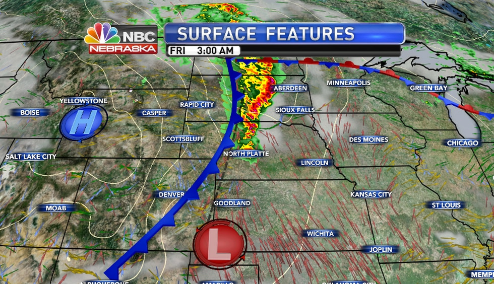 A line of storm along a passing cold front could produce damaging winds over a broad area of...