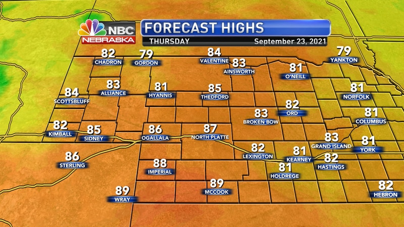 Temperatures warm into the 80s to near 90° on Thursday afternoon.