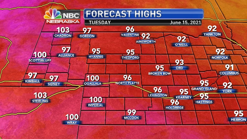 Tuesday highs will include a few more 100 degree days in the southwest...