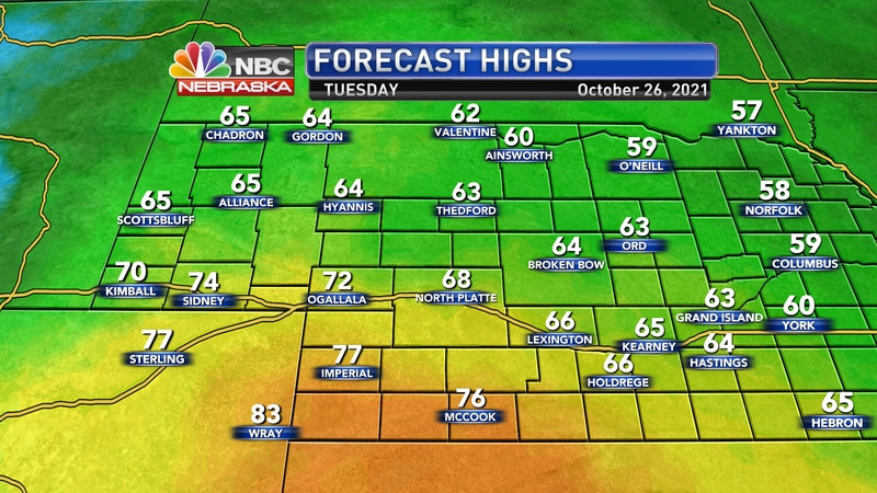 Temperatures will range from the low 60s to the upper 70s by Tuesday afternoon.