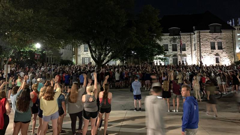 Several hundred UNL students protested in response to a reported sexual assault at the Phi...