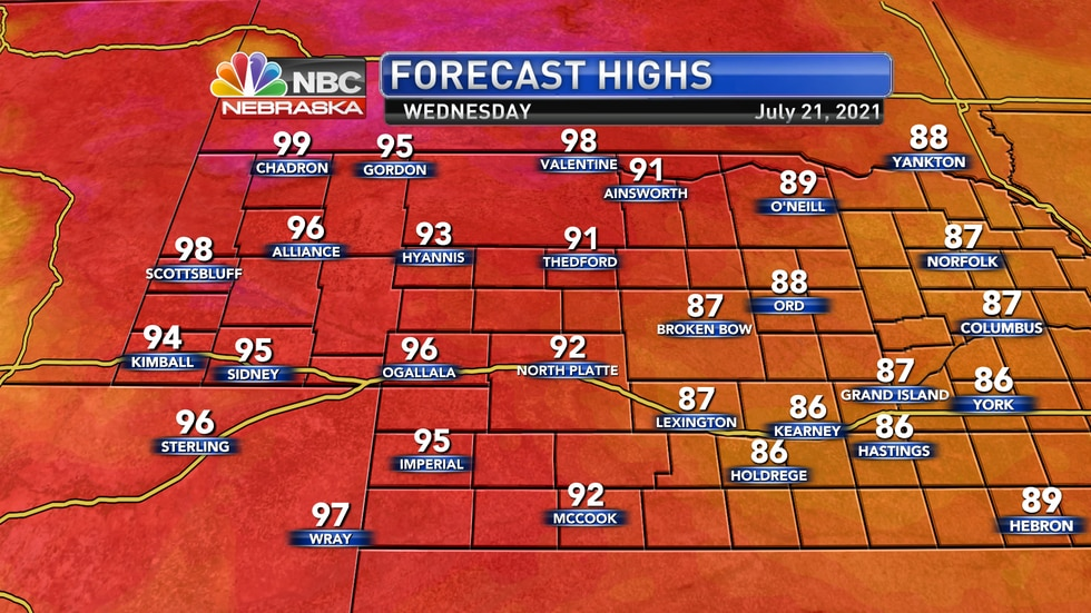 Temperatures by Wednesday afternoon should settle into the upper 80s to upper 90s.