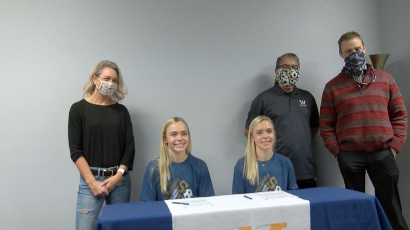 Scottsbluff High School seniors Isabella and California Wright sign to become student athletes...