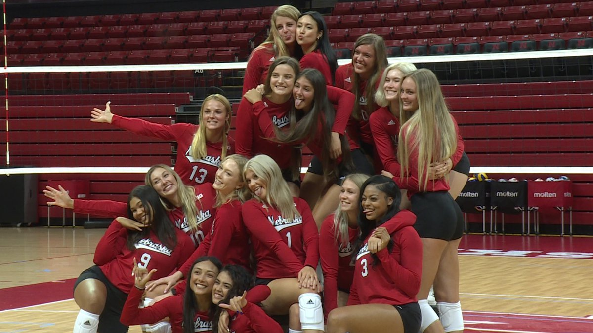 The 2021 Nebraska volleyball team poses for a fun team photo on media day at the Devaney Center...