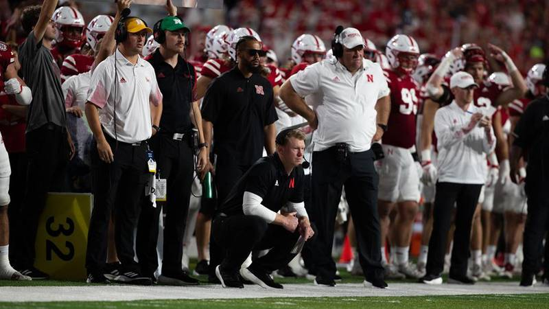 Coach Frost and Husker Football on Saturday, Oct. 9, 2021 against Michigan.