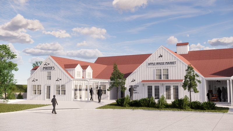 Design plans for Arbor Day Farm's new Apple House Market and adjoining Porter's barbecue...