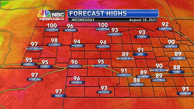 Highs by Wednesday afternoon are forecast to sit in the low 90s to lower 100s.