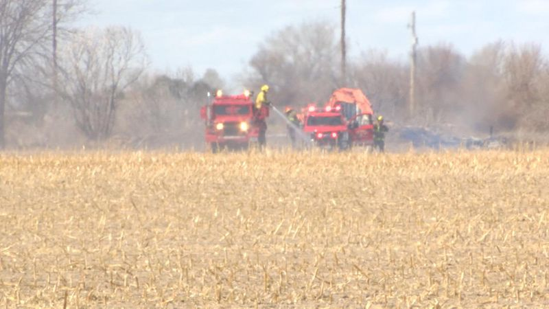 Corn field catches fire in Scotts Bluff County.