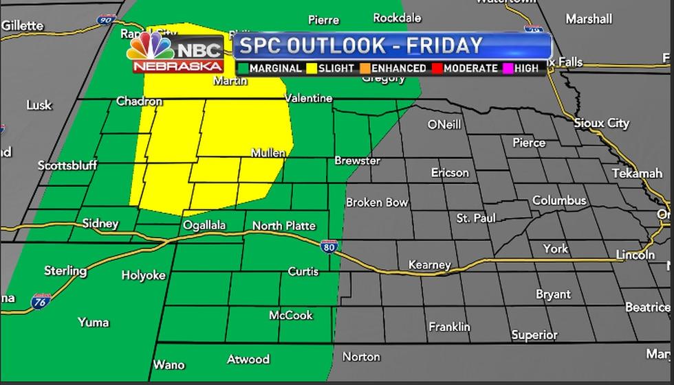 Severe weather chances this evening per Storm Prediction Center