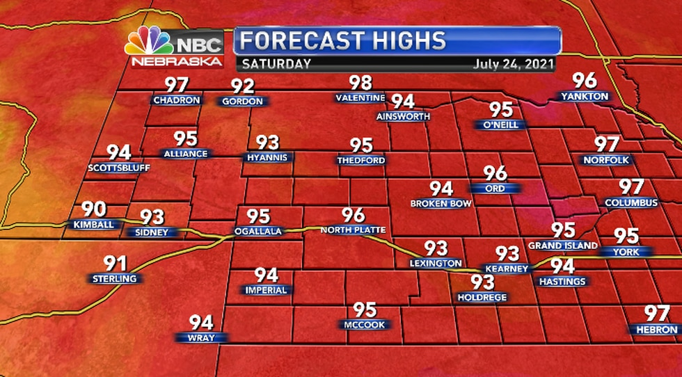 Low and mid 90s with upper 90s far north.
