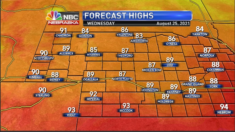 Highs for the region for Wednesday