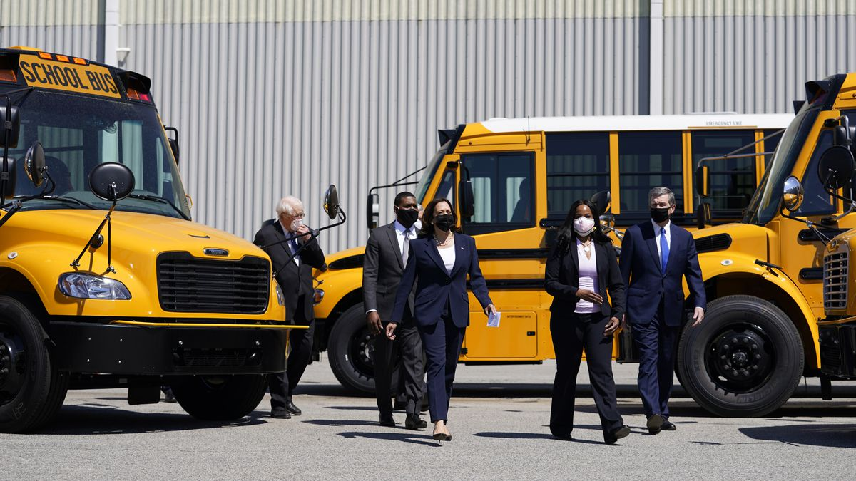 Vice President Kamala Harris tours Thomas Built Buses, Monday, April 19, 2021, in High Point,...
